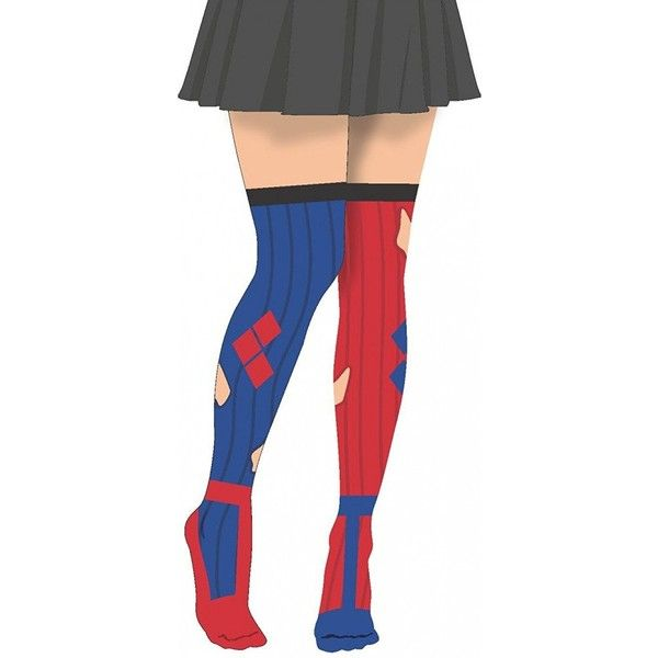 DC Comics Classic Harley Quinn Tights Pantyhose Adult Womens Red Blue... ($17) ❤ liked on Polyvore featuring intimates, hosiery, tights, pantyhose tights, panty hose stockings, pantyhose stockings, red pantyhose and sheer red tights
