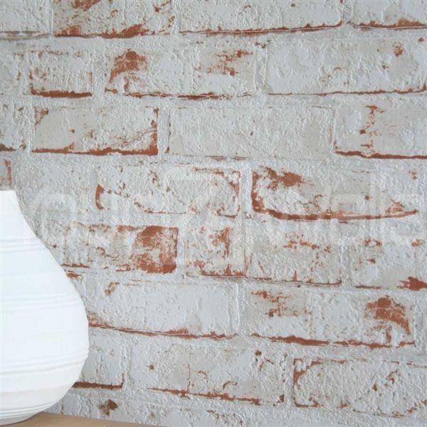 White brick effect wallpaper wallpaper brick realistic for Brick wallpaper ideas