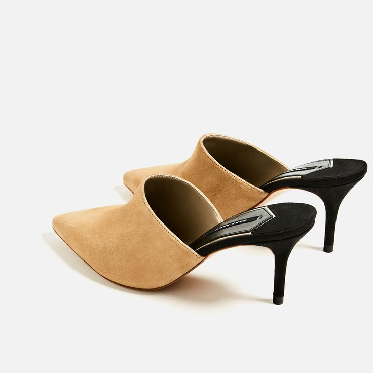 Image 4 of LEATHER SLINGBACK HIGH HEEL SHOES from Zara