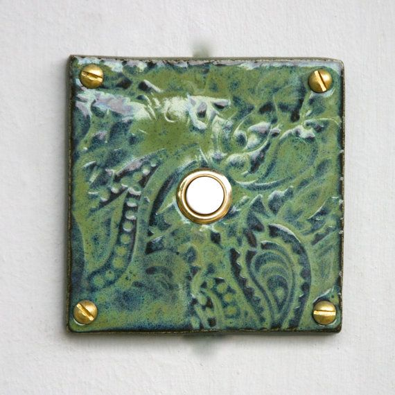 Modern House Doorbell Plate Cover with Standard by BackBayPottery, $39.50 on Etsy