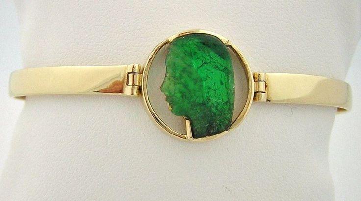 Colombian Emerald 18K Gold Carved Jesus Bangle Bracelet 1.83 Ct 7 1/2- 8 Fine J  #CiCeRi #JesusBangle