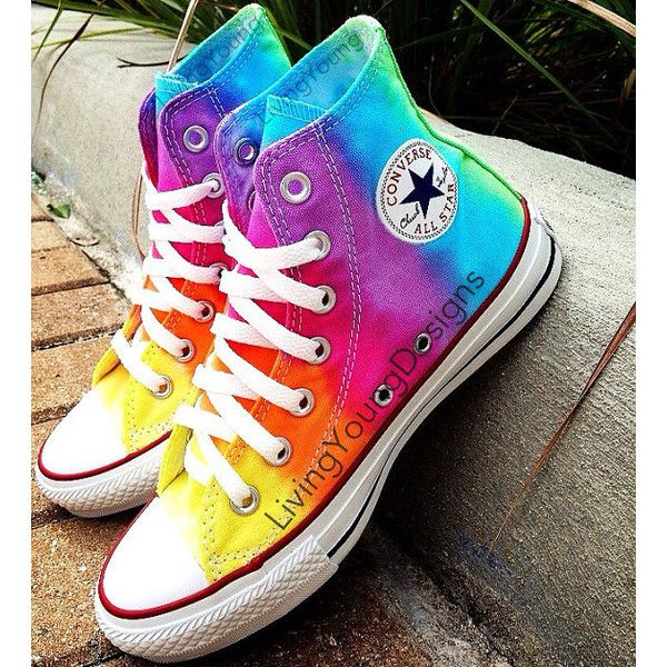 TIE DYE CONVERSE Rainbow Custom Tie Dye Hi Top Converse Reserved ($90)  found on