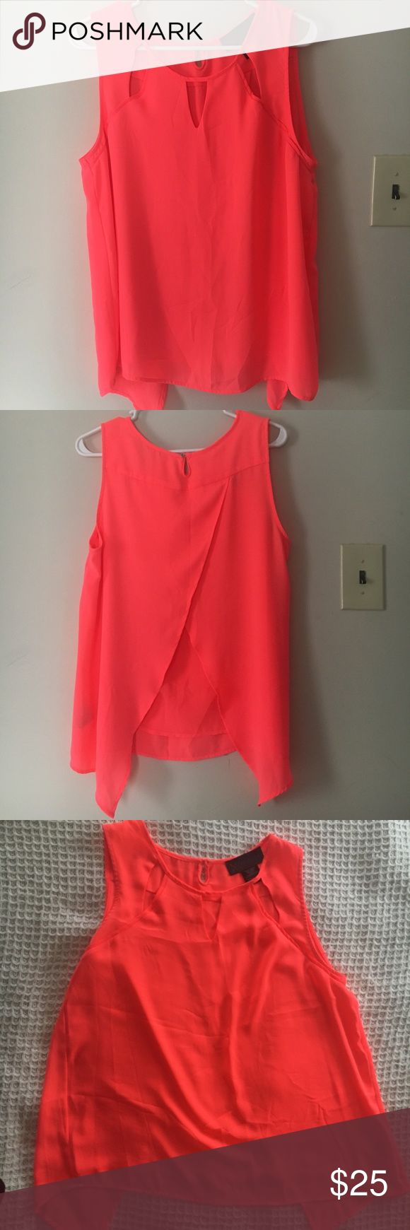 Coral top kardashian kollection Like New- sleeveless flowy sheer top -such a pretty bright coral color lovely for spring! Kardashian Kollection Tops Tank Tops