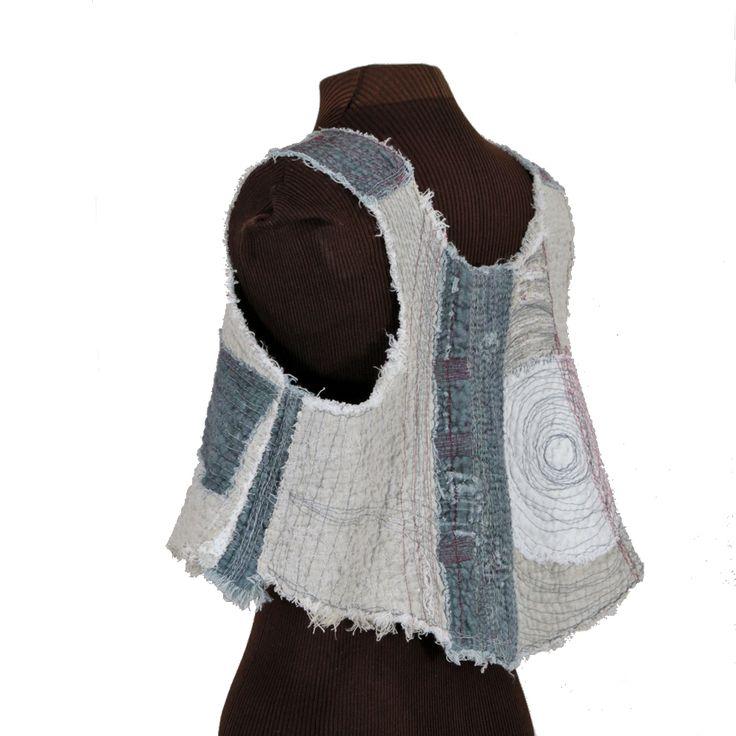 tattered layered boro-influence linen vest - Secret Lentil Clothing