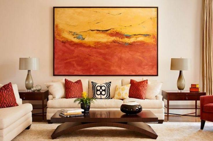 moderne kunst wohnzimmer abstrakte kunst wohnzimmer deko warme farbpalette holz kaffeetisch