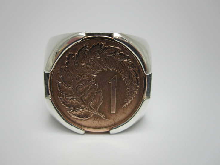 Old school New Zealand 1cent piece set in a silver ring by seventysixdesign