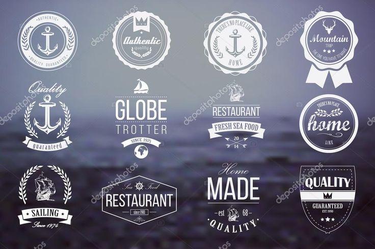 Коллекция Винтаж ретро знаки отличия, значки, марки, ленты и типографский дизайн элементов, векторные иллюстрации — стоковая иллюстрация #44029771