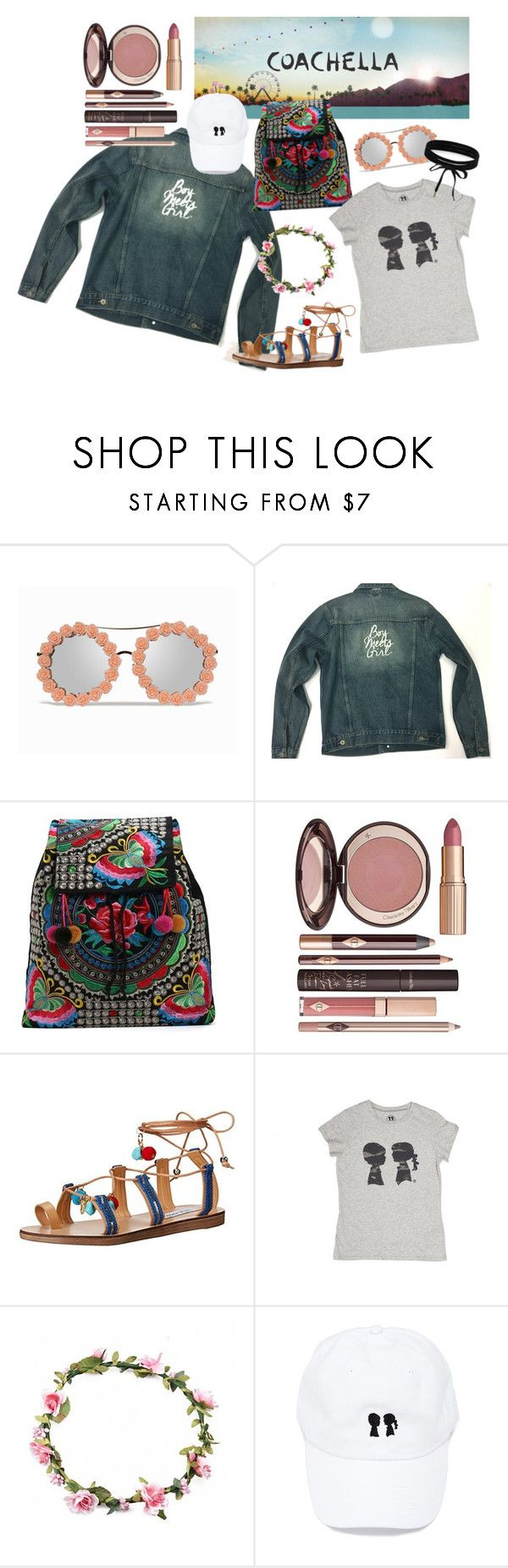 """Boy Meets Girl: Coachella 2017"" by boymeetsgirlusa ❤ liked on Polyvore featuring Charlotte Tilbury, Steve Madden and Boohoo"