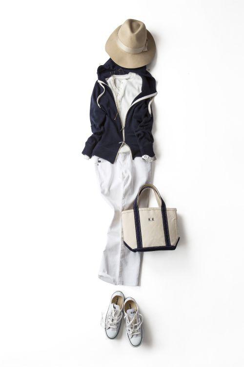 パーカに〝エレガントさ〟を効かせて 2015-04-03   hoodie price :31,320 brand : STRASBURGO   hat brand : Adam et Rope'