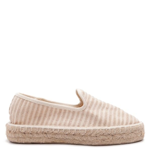 Nude striped espadrilles with rope-covered rubber double sole.