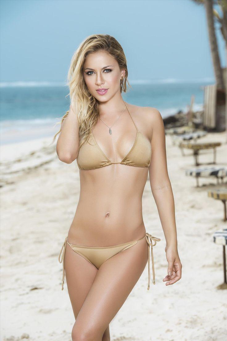 Bikini model string gold beach