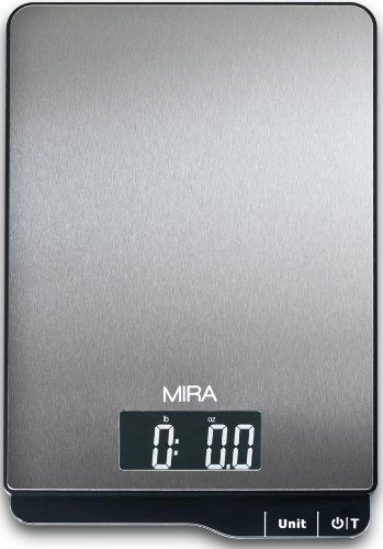 I'm hoping to get this soon! It should be coming in the mail. MIRA Digital Kitchen Scale - Food Scale - Stainless Steel - Large Platform - 11 lb capacity, http://www.amazon.com/dp/B00FF1BIM8/ref=cm_sw_r_pi_awdm_d7yZsb11JN06Z