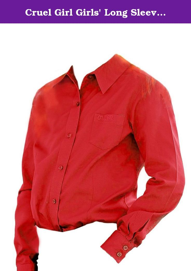 """Cruel Girl Girls' Long Sleeve Button Up Top Red Medium. A classic button-up shirt for your little cowgirl by Cruel Girl This solid red shirt features embroidered """"Cruel Girl"""" text at the left chest pocket. Cotton twill material. Imported."""
