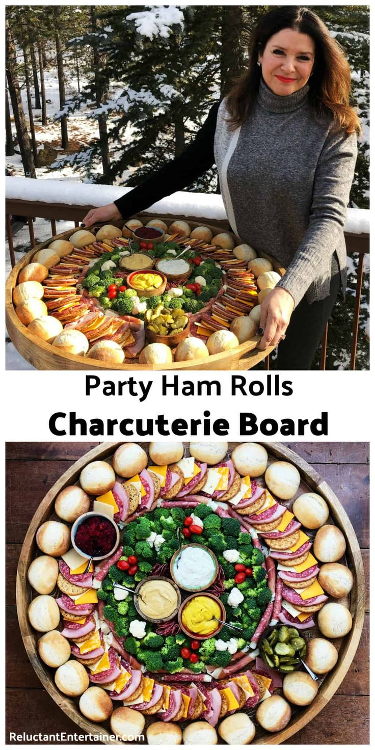 Party Ham Rolls Charcuterie Board is a favorite dinner board for a large gathering. Layer your favorite cheese, ham, salami, and pickles on a French r…