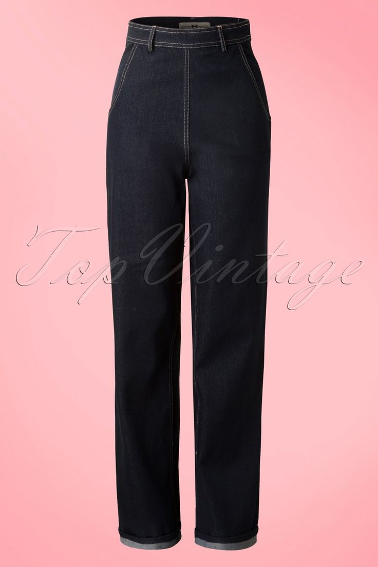 1950s Pants History for Women 50s Siobhan High Waist Jeans in Navy £41.70 AT vintagedancer.com