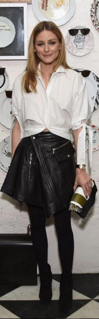 Olivia Palermo wearing Aquazzura and Diesel