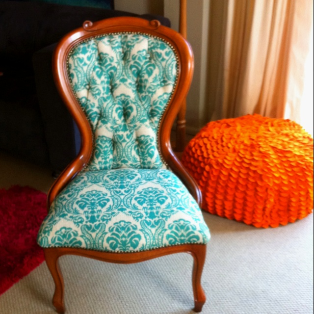Sister's beautiful reupholstered antique chair. Love. - 59 Best Reupholstered Images On Pinterest Armchairs, Chairs And