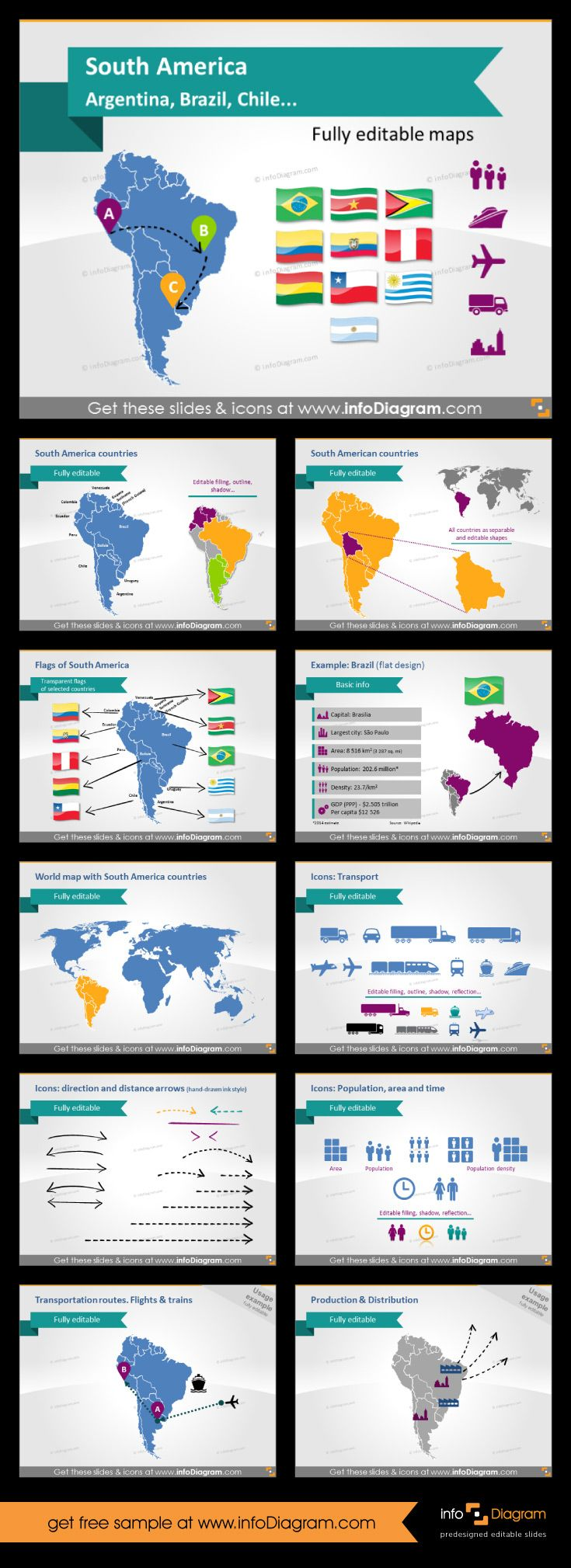 Map of South America with editable countries. You can change colour, size, add callouts with data, pin locations you need to highlight. This will make you slides appealing and crystal clear.  You can make also infographics in PowerPoint. #PowerPoint #theme #template #america #southamerica