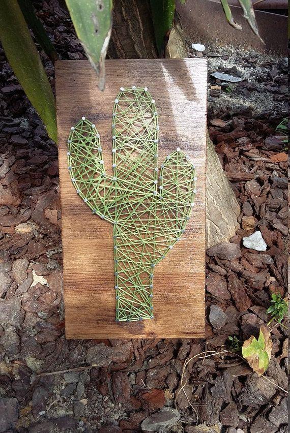 CUADRO STRING ART Cactus por Hiboubazar en Etsy                                                                                                                                                                                 Más