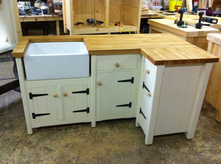 Handmade Freestanding Butler Belfast Kitchen Sink Corner Unit Solid Oak Top Handmade Corner Unit And Kitchen Sinks