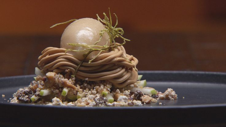 Buttermilk poached pear, walnut, caramel, roast chocolate & pear sorbet (Masterchef Australia)