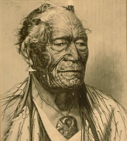 "MAORI: ""Tamaiti Waka Nene"".  Possible 19th century portrait of a Maori with Tā moko."