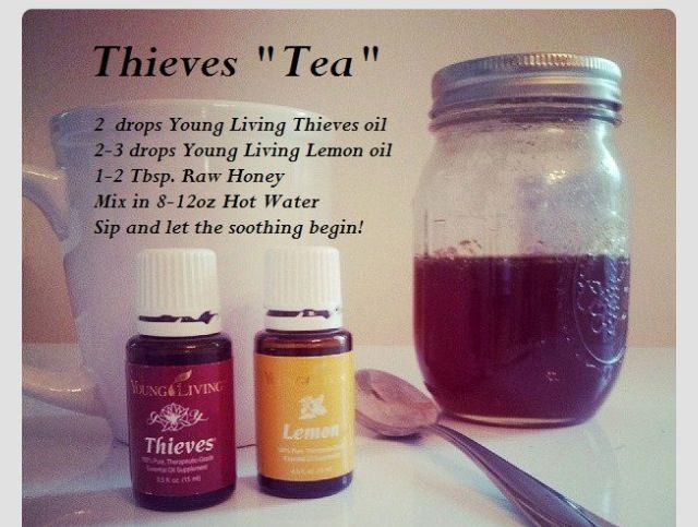 Thieves tea-essential oils for colds.