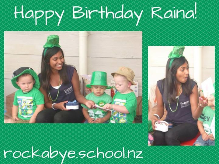 We love celebrating Birthday's at Rockabye and today was a special day for Raina in our Babies and Toddlers room.  We all hope you've had a wonderful day and like your pressie.  Please join us in wishing Raina a 'Happy Birthday'.