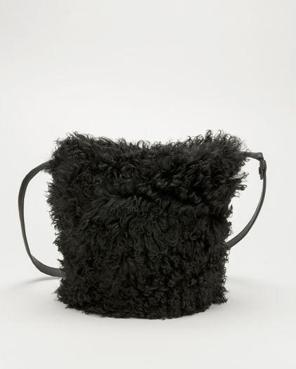 KARA | Long Shearling Small Dry Bag. black long shearling with black pebble leather