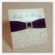 Black & White Glamour Wedding Invitation with pebble embossed paper