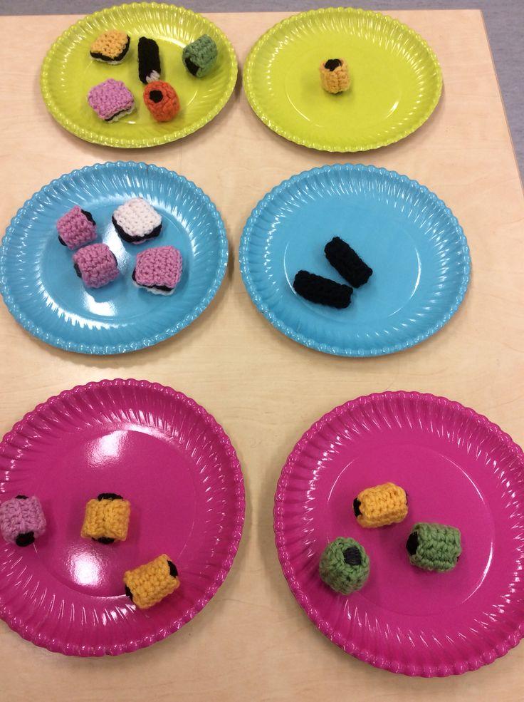 Kuinka monella eri tavalla voi jakaa kuusi karkkia kahdelle lautaselle?