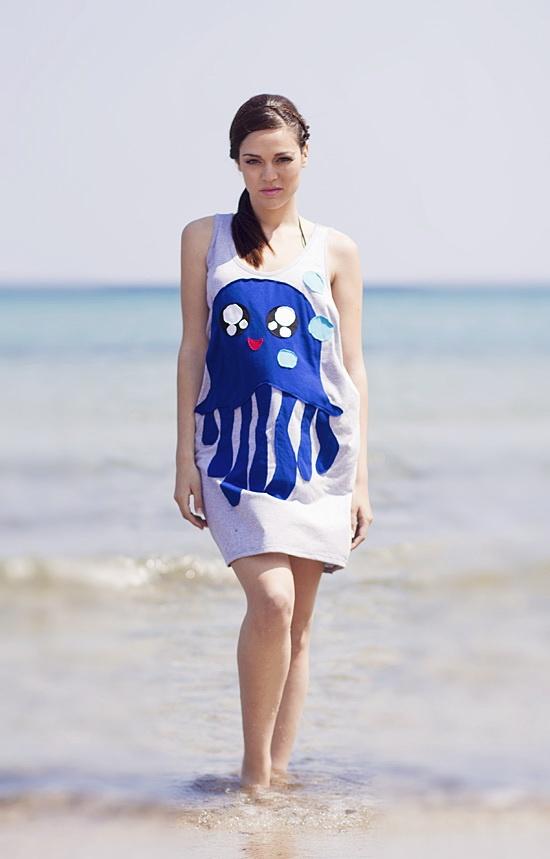 """Φόρεμα με χειροποίητο απλικέ σχέδιο """"Jellyfish""""."""