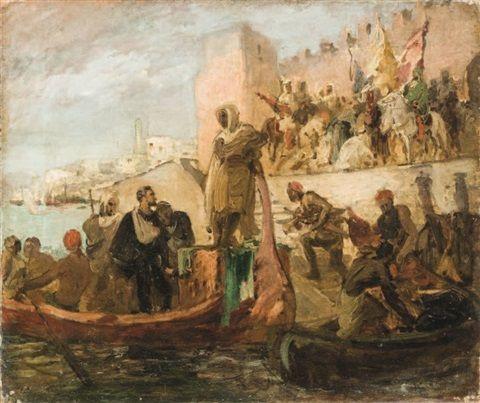 Georges Jules Victor Clairin (français, 1843 - 1919) Captif remis à un chef maure oil on canvas  46,5 x 55,5 cm. (18.3 x 21.9 in.)