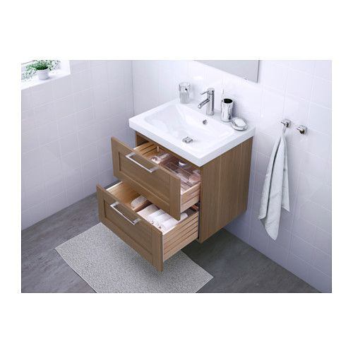 Ikea Wickelkommode Leksvik Gebraucht ~ GODMORGON  ODENSVIK Sink cabinet with 2 drawers  walnut effect