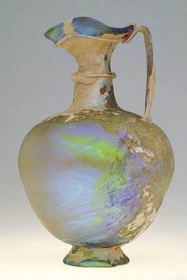 Ancient glass pitcher, circa 2nd - 4th century CE. Syro-Palestinian coast, possibly Sidon. Image courtesy of Honolulu Academy of Art.