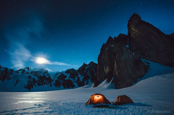 camping mountains snow