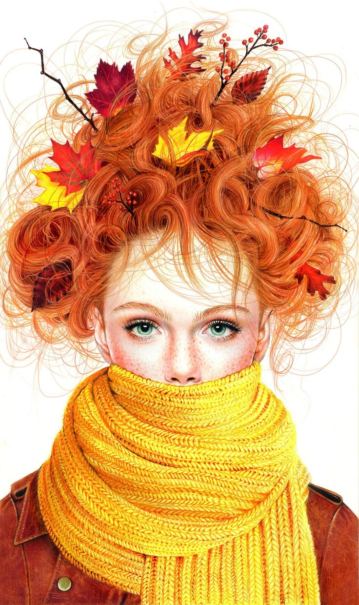 Morgan Davidson. Colored pencil illustrations - Posting this in photography because it's a great portrait idea for an Autumn session with my wild haired redhead!