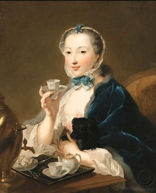 Portrait of the artist's wife, Marie Sophie Robert, half length, with a dog and holding a tea cup by Johann Heinrich The Elder Tischbein (1722-1789)