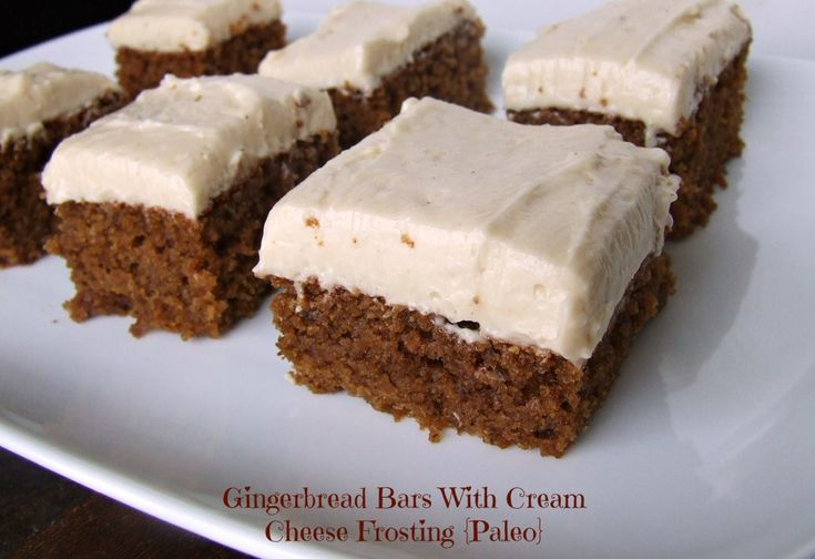 Gingerbread  Bars with Cream Cheese Frosting (Grain/Dairy/Soy/Refined Sugar-Free/Paleo)