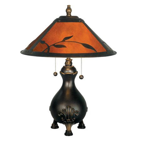Craftsman lamp with leaves and mica shade on a curvaceous base.