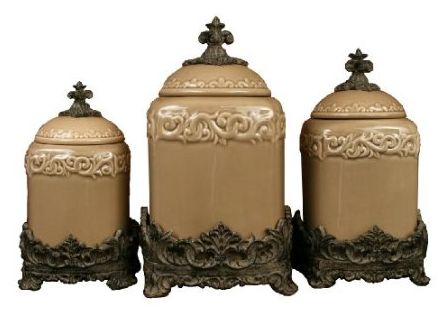 Three Piece Canister Set In Taupe Ceramic Body Is Oven