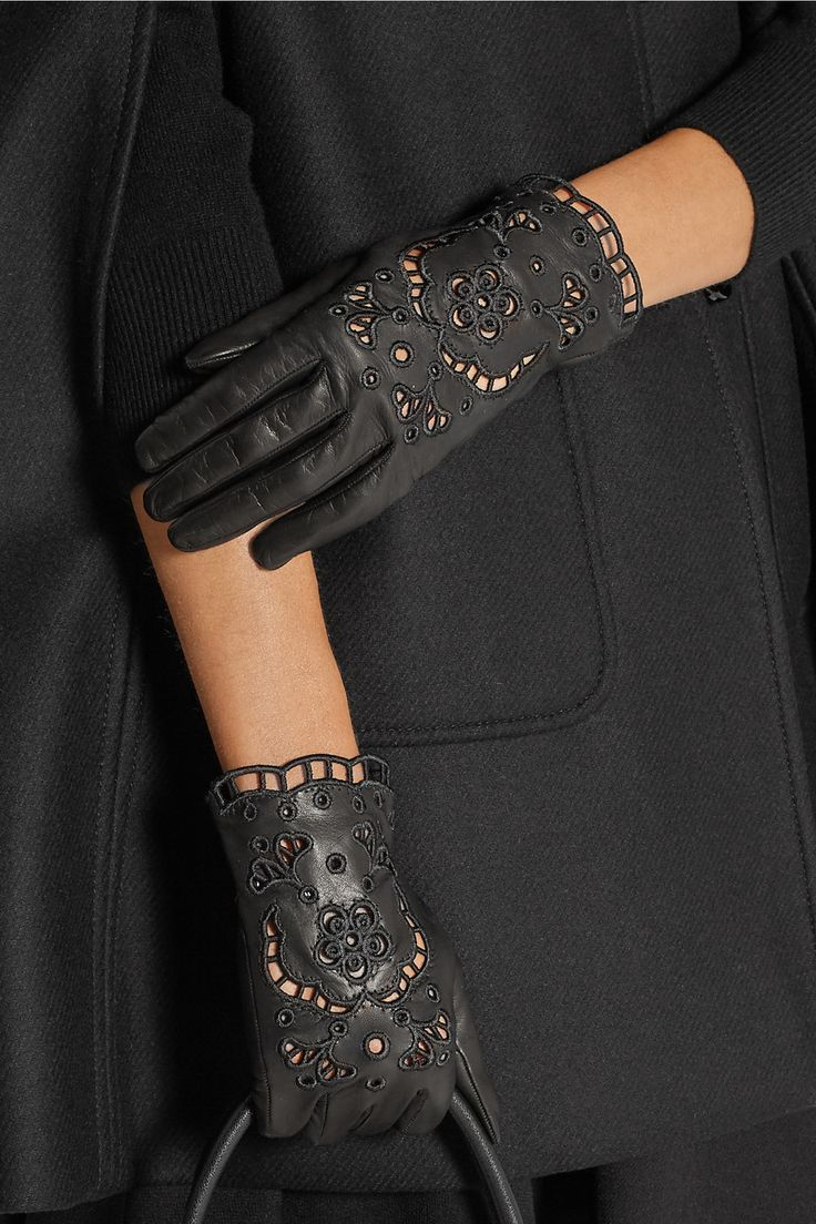 Black leather gloves sydney - Dolce Gabbana Cutout Embroidered Leather Gloves Net A Porter