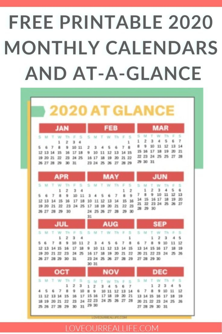 Home Hacks 2020.Free Printable 2020 Calendars The Best Of Love Our Real