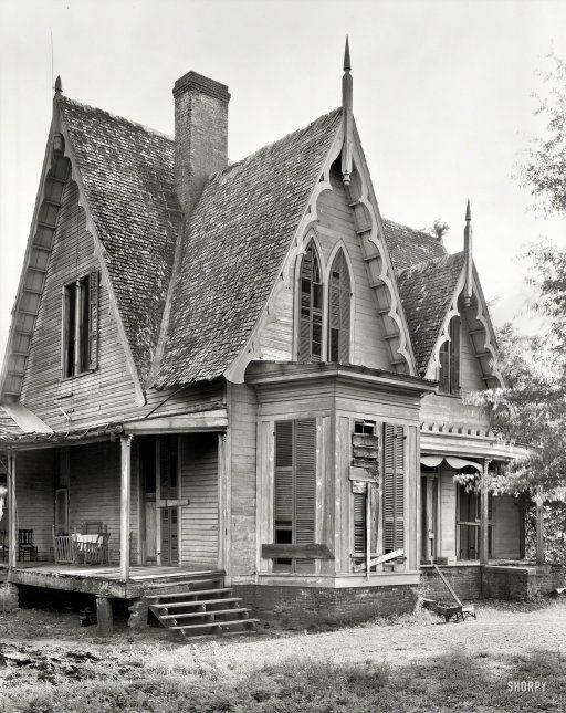 """I'm ready to move in!!   Alabama Gothic: 1939 """"Knight House, Greensboro vicinity, Hale County, Alabama. Gothic Revival two-story frame built c. 1840."""" A little dilapidated, but it has good bones. Possibly under the porch. by Frances Benjamin Johnston."""