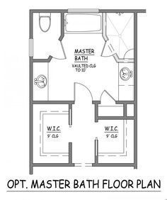 ****replace tub with second vanity*****I like this master bath layout. No  wasted space. Very efficient. Separate closets plus linen.