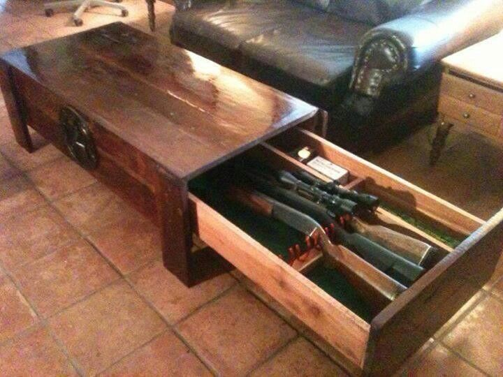 Coffee table gun case must have man cave ideas for Man cave coffee table ideas