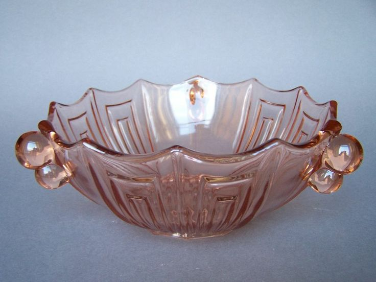 large art deco czechbohemian pressed pink decorative glass bowl - Decorative Glass Bowls