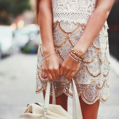 """Super cute beaded skirt with a scalloped hem."""