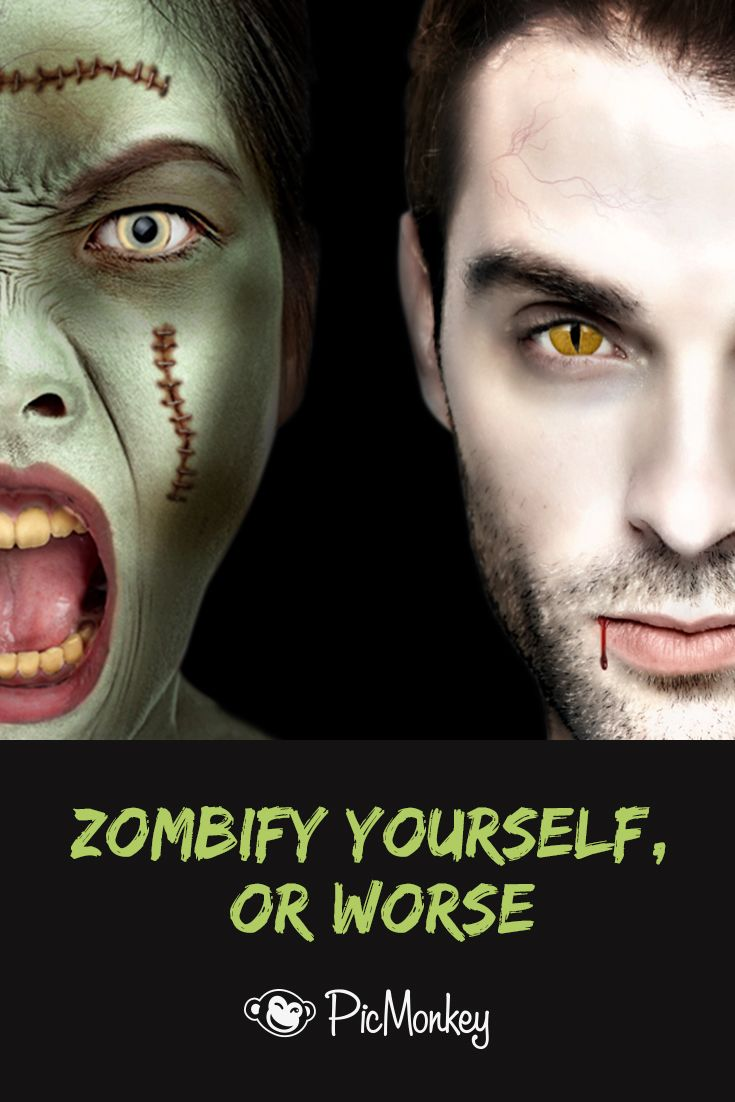 Halloween photo effects and tools to turn an ordinary picture into a ghoulish masterpiece. Make a zombie face, vampire face, witch or demon with digital make up. Change up your social media profile pics for Halloween!