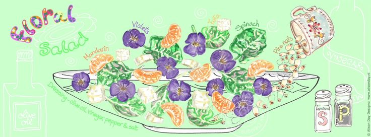 Floral Salad by Alison Day  #food #drink #cookery #cookerybooks #illustration Newsletter - for more info and creativity: http://alisonday.us8.list-manage.com/subscribe?u=f0ee923eb109c974f6e7d72c2&id=d783011ad5